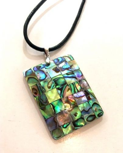 Paua Mosaic Rectangle Pendant PN04-R